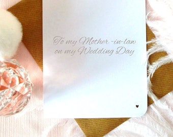 To my mother-in-law on my wedding day, bridal party thank you card, elegant hand written modern calligraphy,  UK