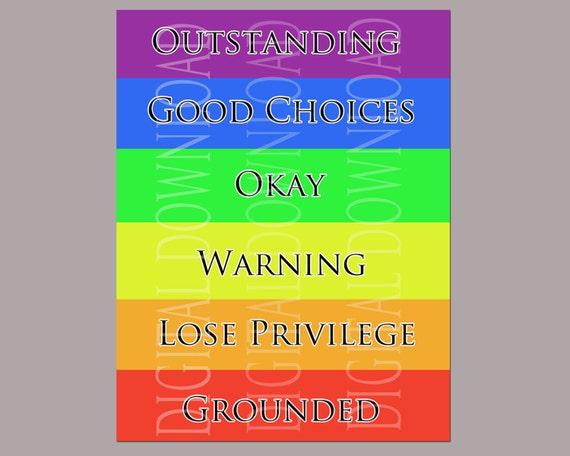 color chart for school: Three different downloadable behavior color clip chart school