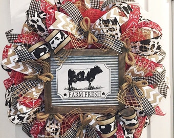 Cow Wreath - Spring Wreath -Summer Wreath- Farm Fresh Red Black and White - Mothers Day Gift - Wreaths -Front Door Hanger - Farmhouse Decor