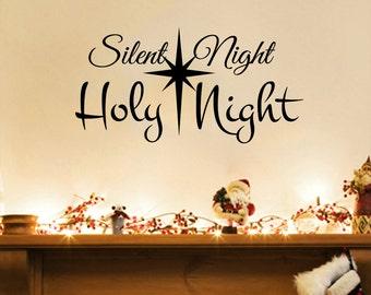 "Silent Night, Holy Night Christmas Wall Decal (30"" X15"")"