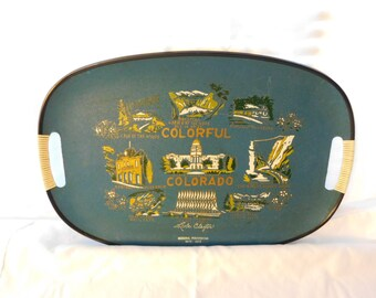 1970s  Souvenir of Colorado State Plate Serving Tray Platter box LL