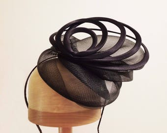 Black Fascinator 'Sydney' Sinamay and Horsehair Hat with Loops,  Hat Art By Cathy