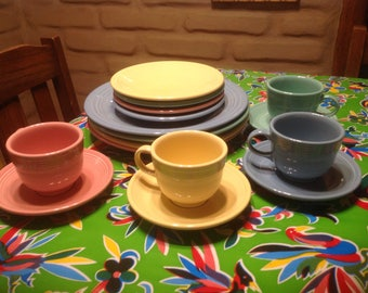 Vintage 16 piece (4 place settings) set of Homer Laughlin China Fiesta ware pastel & Fiesta ware   Etsy