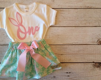 Some Bunny is One Birthday Outfit, Fabric Applique First Birthday Outfit Little Girls, Bunny Princess Outfit, First Birthday Size 2T