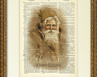 Dictionary Page Print - SEPIA SANTA - a lovely old Santa illustration on an antique dictionary page- charming vintage Christmas wall decor