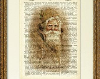 Dictionnaire Page Print - sépia SANTA - une belle illustration de Santa vieux sur une page de dictionnaire antique-charmant décor de mur Noël vintage