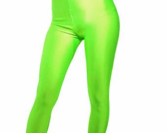 High waisted spandex leggings neon green