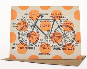 Cycling in Circles, Bicycle Card, Notecard, Bicycle Note Card, Quirky Greeting Card, Vintage Collage Art, Vintage French Bicycle