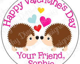 PERSONALIZED VALENTINE STICKERS - Sweet Hedgehogs - Round Gloss Sticker Labels