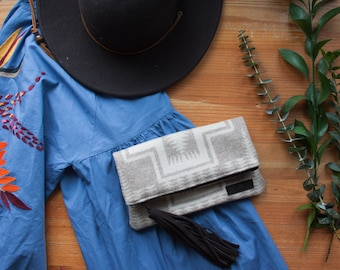 Foldover Clutch in Pendleton Wool, Neutral Clutch, Tribal Clutch, Bohemian clutch, Boho clutch, Mercy Grey Design Bag, Fold over clutch