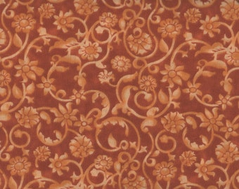 "Floral Fabric, 54"" Wide, Tonal Scroll, Orange Fabric, Floral Fabric, Orange Floral Fabric, 05092"