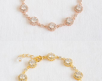 Rose Gold Wedding Bracelet, Bridal Crystal Bracelet, Round Halo Bracelet, Vintage Style Wedding Bridal Jewelry, Tennis Bracelet, SARAH