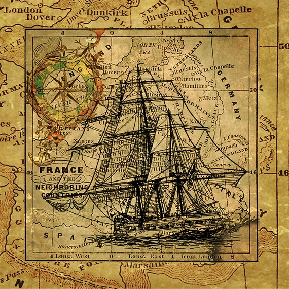 vintage nautical ship art print