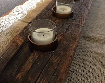 Reclaimed Wood Table Top (7) Tea Light Holder