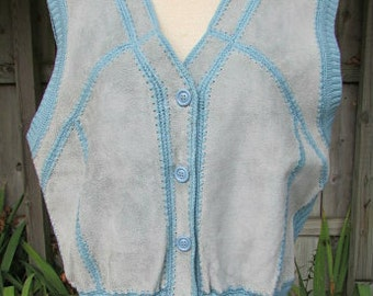 vintage 70s patchwork suede sweater vest blue gray suede ribbed knit b42 hippie boho