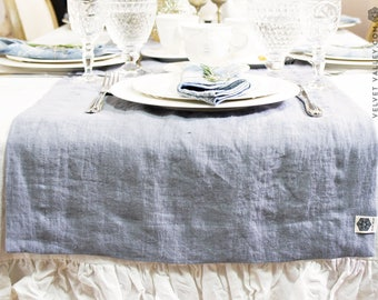 Bright white linen tablecloth with ruffles-washed linen tablecloth - optical white tablecloth - light tablecloth