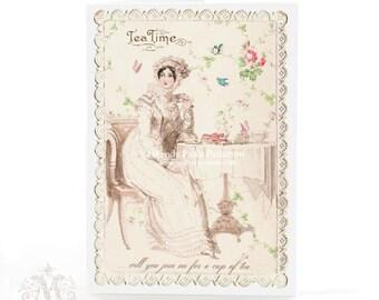 Jane Austen Regency lady, literary, tea, birthday card, all occasion card