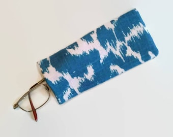 Blue and White  Upcycled Eyeglass Case Sunglasses Holder