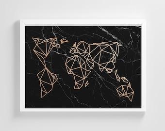 Black Marble Geometric World Map Frameless Poster Illustration Art Print Stylish Home Decoration Wall Art Nursery Decor Living Room | IC67