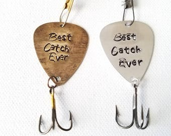 Fish Lure Guitar Pick Hand stamped Best Catch Ever Fish hook Personalized Bronze Fish hook  Gift for Him Anniversary gift Birthday Gift