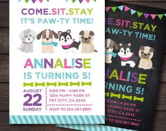 Puppy Invitation,  Puppy Birthday Party, Pet adoption party, Dog Invitation, Pet Invitation, Digital Invitation, 2 Options