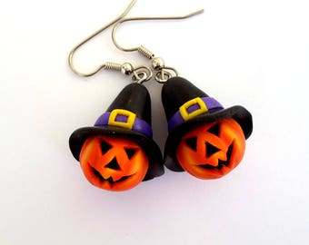Halloween Eerrings, Jack O Lantern Earrings, Pumpkin Earrings