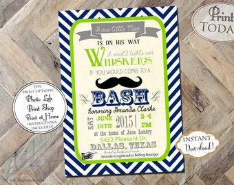 INSTANT DOWNLOAD - Mustache Baby Shower Invitation - Mustache Bash - Navy Stripe Baby Shower Invite - Navy Green - Little Man Invite - 0170