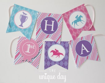 Kentucky Derby Birthday Party Banner for Girl - Printable - Personalized - Can Be Made to Match ANY Theme in My Shop // DERG-06