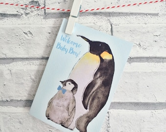 Welcome Baby Boy Penguin Card - New Baby Boy - A6 with Kraft Envelope - Blank Inside - Baby Shower