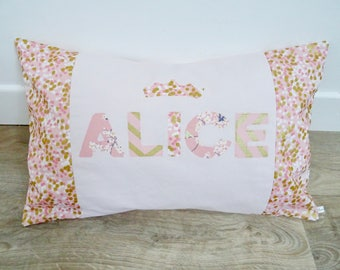 Personalized pink and gold pillow