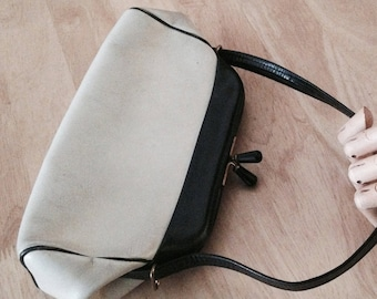 1950s Afternoon black and Cream Leather bag