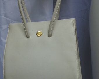 LENNOX Vintage 40s50s Bone Leather Tall Handbag Purse