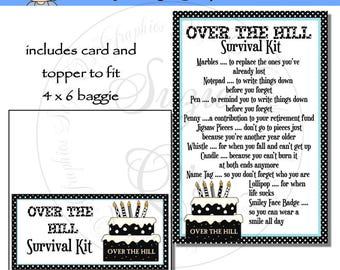 Over The Hill Survival Kit includes Topper and Card - Digital Printable - Immediate Download
