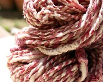 Pink & White Merino Handspun Art Yarn