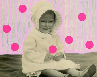 Pastel And Neon Pink Altered Vintage Portrait Collage, Mixed Media Photography Of A Cute Little Baby Girl, Manipulated Picture With Stickers