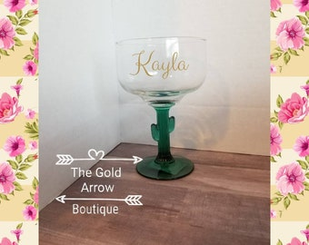 SALE Cactus Margarita Glass, Personalized Cactus Glass, Fiesta Birthday Party, Margarita Glass with Name, Bachelorette Party Fiesta Theme