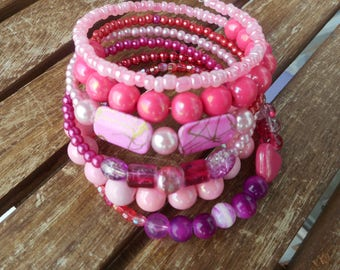 Handmade bracelet beads Pink trip Boho style wrap Spiral bracelet handmade unit size one size