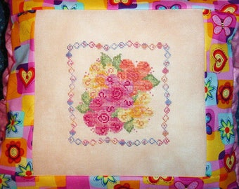 Orange Pink Flowers Cross Stitch PDF Pattern