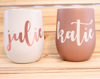 Custom Wine Tumbler- Custom Wine Glass- Custom- Personalized Wine Tumbler- Custom Tumbler- Rose Gold- Bridesmaid Gift- Name Tumbler-Tumbler
