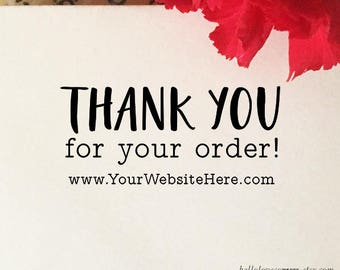 Thank You For Your Order Stamp, Etsy Shop Stamp with Website, Personalized Etsy Sellers Business Stamp, Wood or Self Inking Rubber Stamp