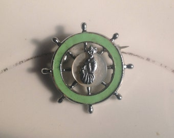 Vintage ships wheel with lucky pixie brooch 1960s