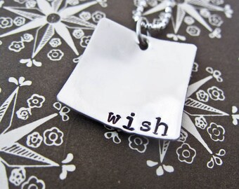 Hand Stamped Wish Necklace - Personalized Sterling Silver Jewelry - One Square Disc Pendant