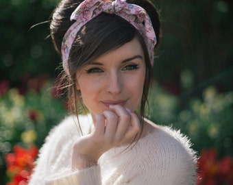 Ditsy Pink Floral Hair Scarf, Pin Up Rockabilly Hair Scarf, Floral Head Scarf, Retro Pin Up Girl Hair Accessory