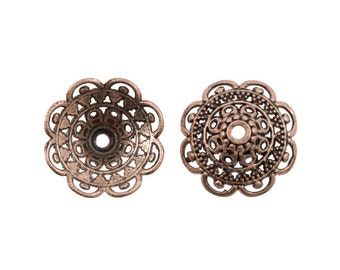 7 mm x 19mm Antique Copper Fancy Filigree Tibetan-style Bead Caps - 10 Pieces - 0303OXCO