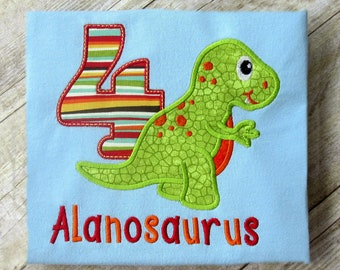 dinosaur birthday shirt, embroidered dino birthday shirt, numbers 1-9, custom shirt you choose your dinosaur