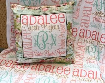 Personalized Baby Girl Blanket Shabby Chic Blanket Baby Swaddle Blanket Baby Name Blanket Receiving Blanket  Custom Baby Shower Gift