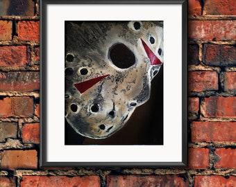 Jason Mask Friday The 13th Oil Painting Horror Movie Wall Art Print