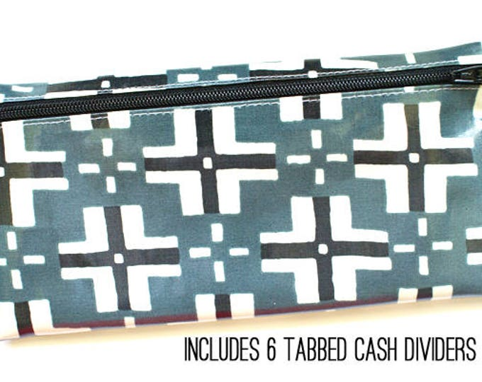 Neutral geometric cash budget wallet with 6 tabbed dividers