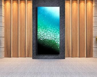 Modern Art Print, Flower Art, Turquoise Flower Wall Art, Nature Decor, Giclee Fine Art Print by Artist Justin Strom