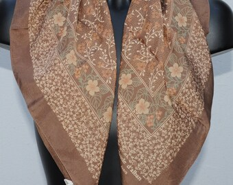 Vintage brown floral scarf CLAUDE D'ALBAN 66x68